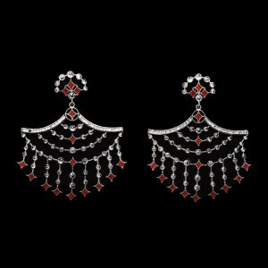 Silver & Crimson Earrings