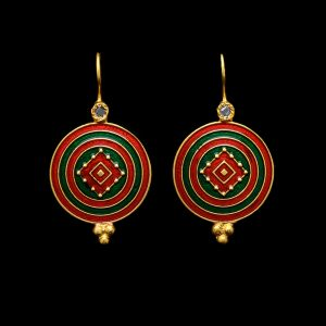 Futuristic Red & Green Earrings