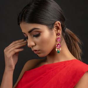 Jolie Pink & Green Earrings